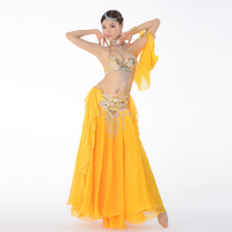 Belly Dance Costume Performance Belly Beading Cloth for Women Belly Dance Costumes Dance Bra, Belt, Skirt Clothing Sets-in Belly Dancing from Novelty & Special Use    3