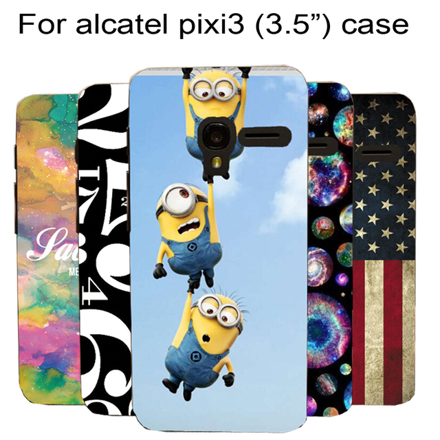 quality design 12ca6 f6648 US $2.39 40% OFF|Case for Alcatel One Touch Pixi 3 3.5 inch OT 4009A 4009X  4009E 4009D phone case transparent side painted pattern case cover-in ...