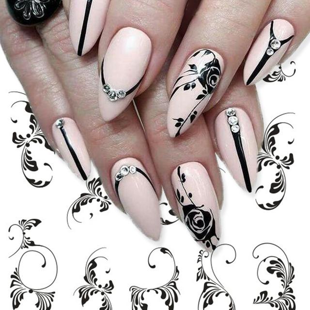 1 Sheets Black Vine New Beauty Nail Art Water Transfer Sticker Tips Watermark Temporary Tattoos DIY Nail Decals TRSTZ655