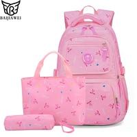 BAIJIAWEI New Girls School Bags Three piece Backpack + Shoulder Bag + Pencil bag Cute Bow Printing Children Backpack