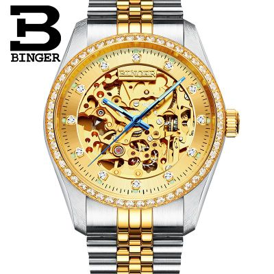 Binger Classic Series Golden Movement Inside Silver Stainless Steel Mens Skeleton Watch Top Brand Luxury Fashion Automatic Watch