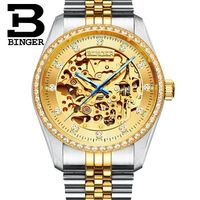 Binger Classic Series Golden Movement Inside Silver Stainless Steel Mens Skeleton Watch Top Brand Luxury Fashion