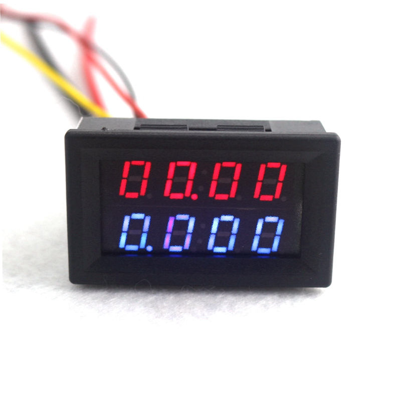 Digital DC Voltmeter Ammeter DC 200V 10A Voltage Current Meter Power Supply DC4V-28V Red Blue LED Dual Display