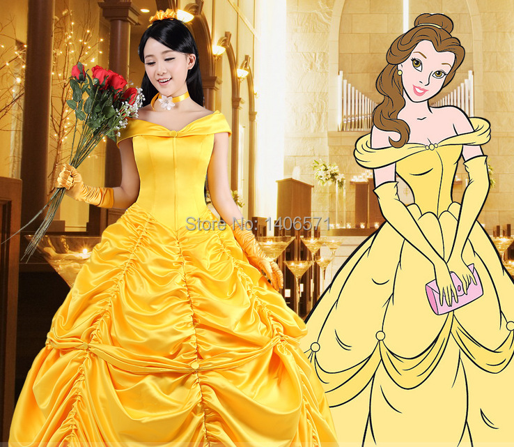 Online Shop Beauty And The Beast Princess Dress Belle Yellow Made Coplay Costume