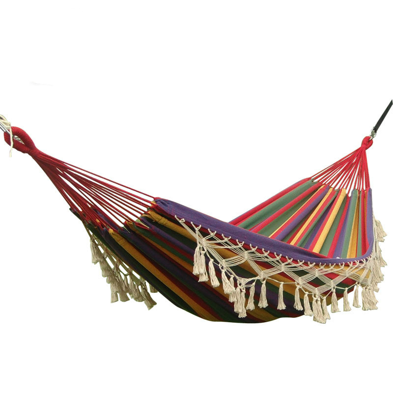 Fashion Tassels Double Hammocks High-end Cotton Canvas Tourism Hammock Camping Hanging Chair Outdoor Furniture 200*150cm Swing
