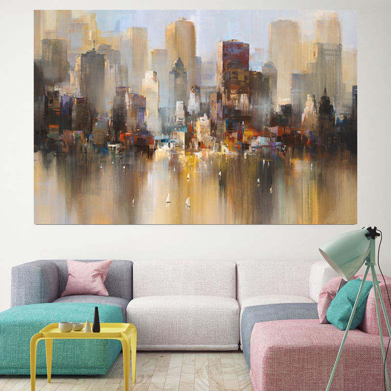 New York City Skyline Canvas Wall Art Abstract World Map Decoration Painting New