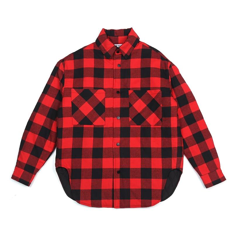 Vermelho preto xadrez acolchoado camisa de algodão dos homens 2019 vintage hip hop mais grosso tartan manga longa camisa alta rua solta roupas - 5