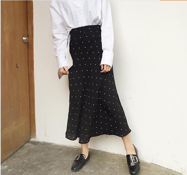 d4d4d95ba18 US $17.98 |summer polka dot black chiffon mermaid skirt long elastic waist  ruffles vintage skirt jupe longue falda larga saia longa gonne-in Skirts ...