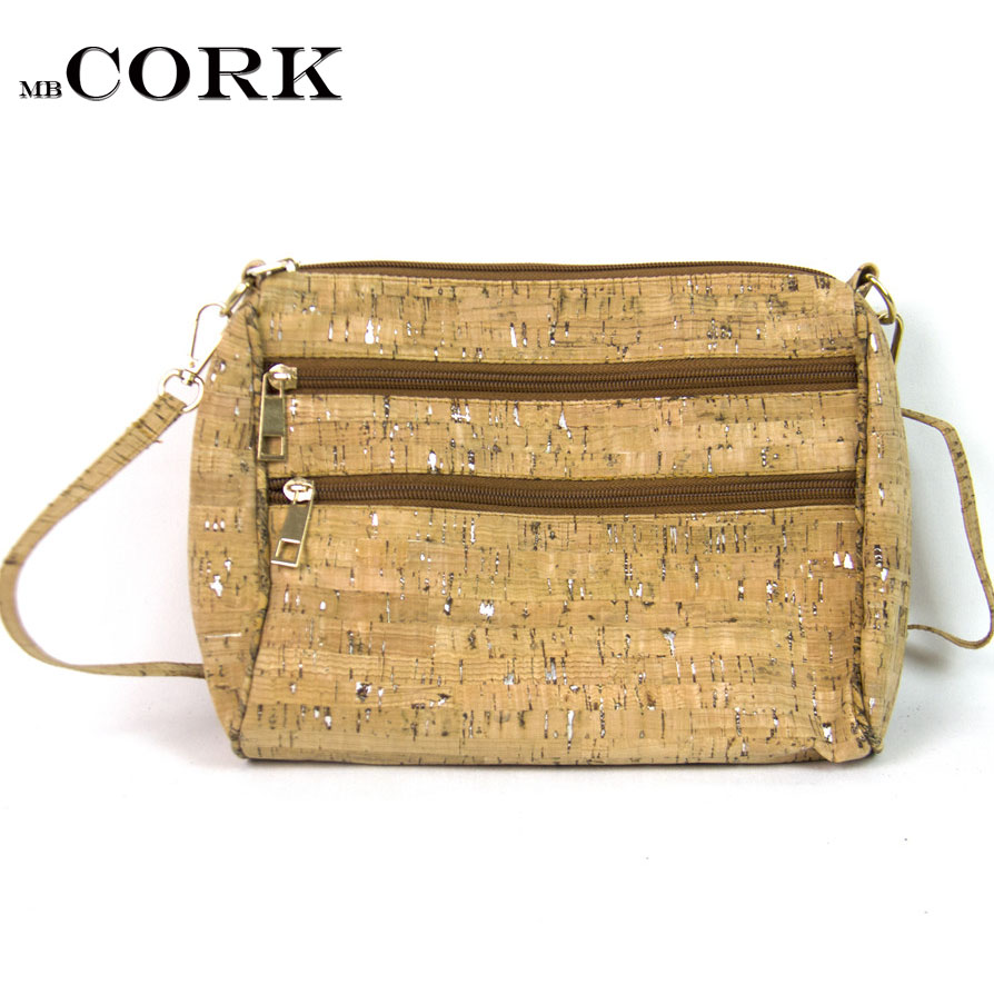 Natural cork handmade Double zipper body cross women messenger Cork bags Wooden vintage bag-161