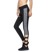 AO SHENG New Stylish Activewear Legging  Black Mixed Grey Leggings Splice paneled Women Cut Out Leggings High Waist Leggings black cut out yoga bodycon leggings