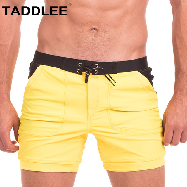 Taddlee Brand Swimwear Men Sexy Swimsuits Beach Long Basic Pocket Solid Briefs Boxer Trunks Shorts Boardshorts Bathing Suits Gay