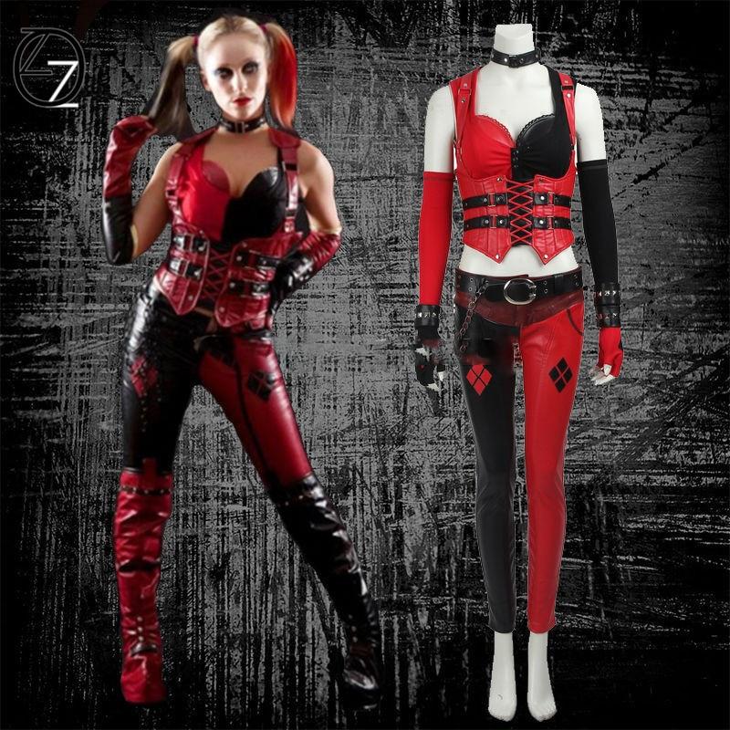 Harley Quinn Cosplay Costume Batman Arkham Knight Clothing Fancy Dress Halloween