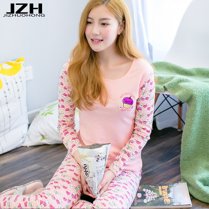 JZH Brand Women Pyjama Long Sleeve 2 Pieces Sleepwear Sets 100% Cotton Breathable Home Clothes Thin Casual Lounge Wear Plus Size