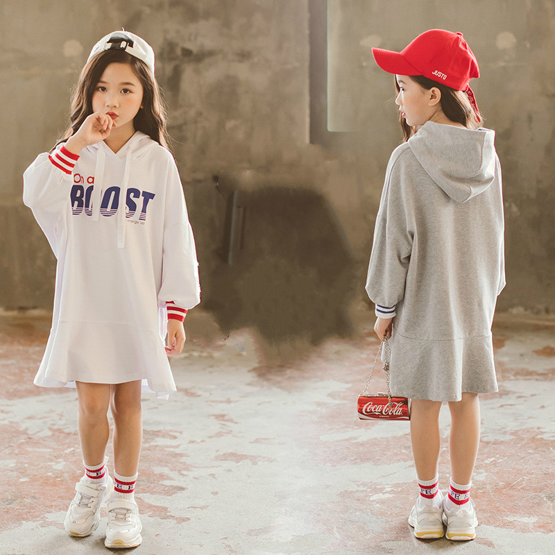 57189daea girls Princess Clothes Cotton Kids Striped Party Hoodies Dress Teen ...