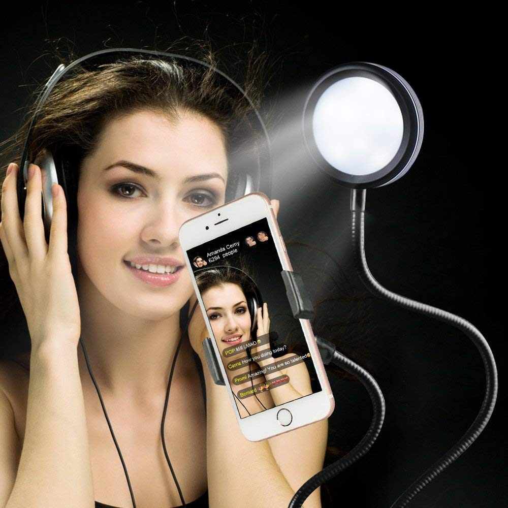 2 in 1 Selfie LED Ring Light with Smartphone Mobile Holder for Youtube Live Stream Makeup Camera Lamp for iPhone Android