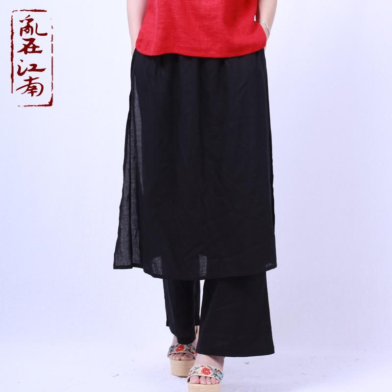 Original Thailand Nepal national double fisherman   pants   solid   wide     leg   cotton linen trousers   wide     leg     pants