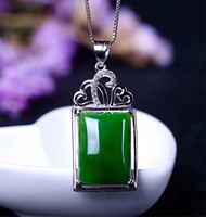 New S925 With Certificate Sterling Silver Natural Chinese Hetian Green Jade Women Necklace Valentine's Day Gift