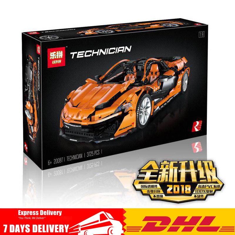 3725 PCS LEPIN Technic 20087 Sports Race McLarened P1 Car Model Building Kits Blocks Bricks Toy Compatible Legoinglys MOC 16915 lepin 21004 ferrarie f40 sports car model legoing building blocks kits bricks toys compatible with 10248