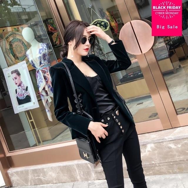 Fashion Velvet Lace up blazer coat women Autumn casual jacket suit dark green slim long sleeve single button outwear L1364