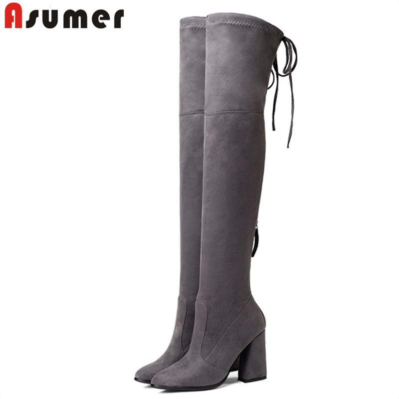 ASUMER 2018 spring autumn shoes woman pointed toe over the knee boots women thick high heels flock thigh high boots size 34-43 hongyi women boots stretch over knee spring autumn boot thigh high boots shoes woman big size pointed toe high heels botas mujer