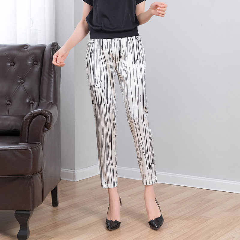 91% Silk Harem Pants Woman Summer Chiffon Pants Calf Length Elastic Waist Elegant Chinese Style Pants Striped Carrot Trousers