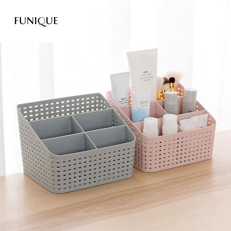 FUNIQUE Makeup Organizer Storage Box Desk Accessories Organizer Cosmetics Plastic Make Up Organizer Boxes Storage Remote Home