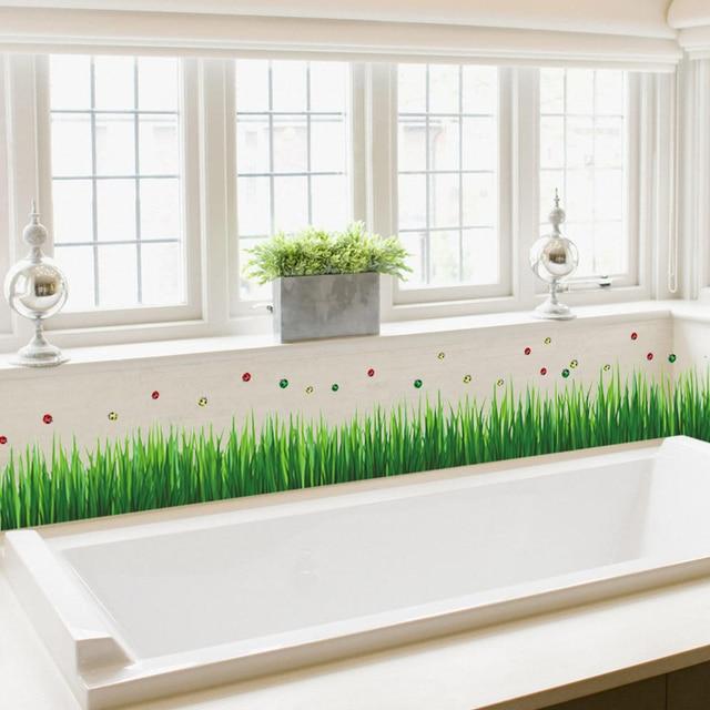 Green Grass Ladybug Baseboard Plant Wall Sticker DIY Skirting PVC Living  Room Bedroom Decorative Home Decor