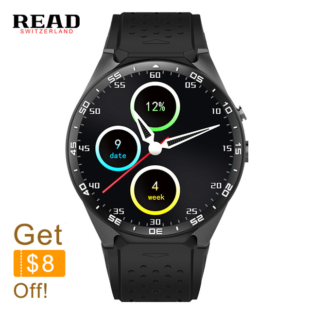 READ top sports KW88 3G WIFI GPS smart watch for Android 5.1 iOS MTK6580 Heart Rate GPS Google Play Youku 512MB / 4GB Remote