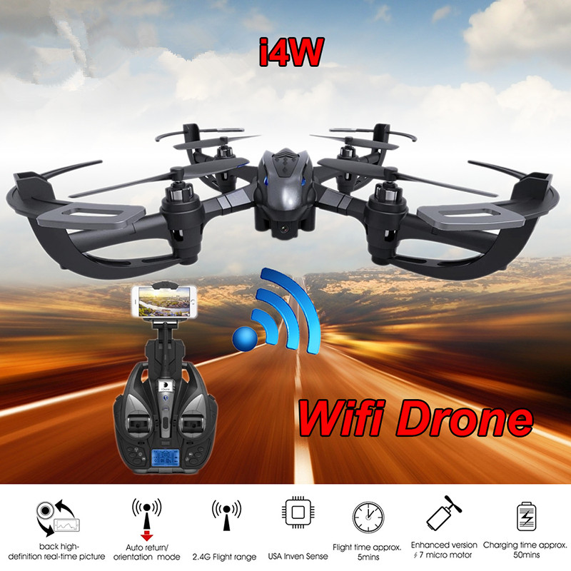 ФОТО WIFI RC Drone  i4w RC Quadcopter With WIFI Camera One Key Return Remote Control toy WIFI FPV Aerial Helicopter vs x101