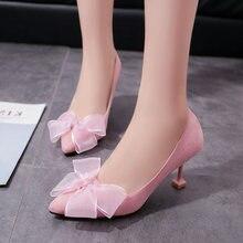 a86afce23 Bonito Mulheres Sapatos Bowtie Bombas Mulher Sapatos De Salto Alto Rosa Dedo  Apontado Fino Salto Alto
