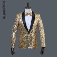 VAGUELETTE Paisley Floral Sequins Mens Blazer Jacket Coat For Singers GoldenΠnk Shawl Collar Blazer For Men Stage Wear M 2XL