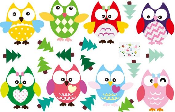 2015 Nouvelle Arrivee Owl Wall Sticker Huit Couleur Dessin Anime