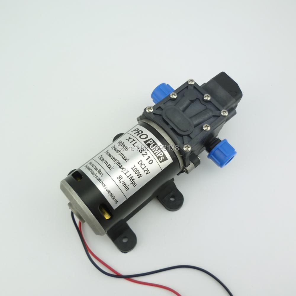 8L/Min small electric diaphragm water pump High Pressure water pump dc 12v self priming pump 100w 160psi 8l min dc 100w water diaphragm pump 24v
