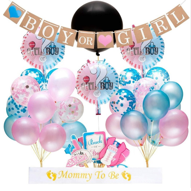 36 inch black round confetti balloon boy or girl gender reveal baby shower bath decoration party gift pink blue confetti in Ballons Accessories from Home Garden