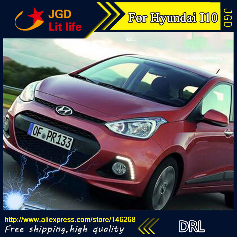 цена на Free shipping ! 12V 6000k LED DRL Daytime running light for Hyundai I10 2013 2014 fog lamp frame Fog light
