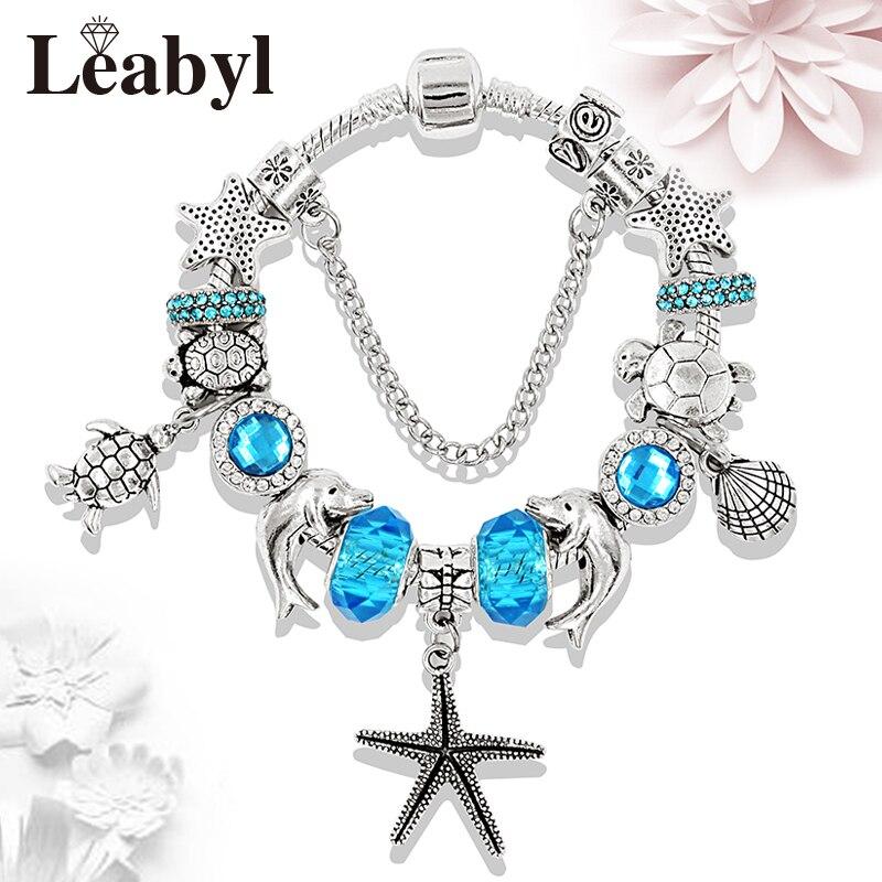 New Arrival Turtle Dolphin Beaded Pandora Bracelets & Bangles Ocean Series Crystal Charms Bracelets Ornament Pulsera Vogue Gift