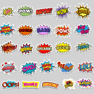 Image 2 - 50 pièces Mots autocollants oups bang boom wow pow Graffiti Autocollants pour Ordinateur Portable Skateboard Réfrigérateur de Guitare Étanche Autocollants