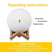 3D Moon Lamp Printed Night Light Remote Control 16 Colors Change Optical Illusion LED Lunar Moonlight Globe Ball with Wood Stand