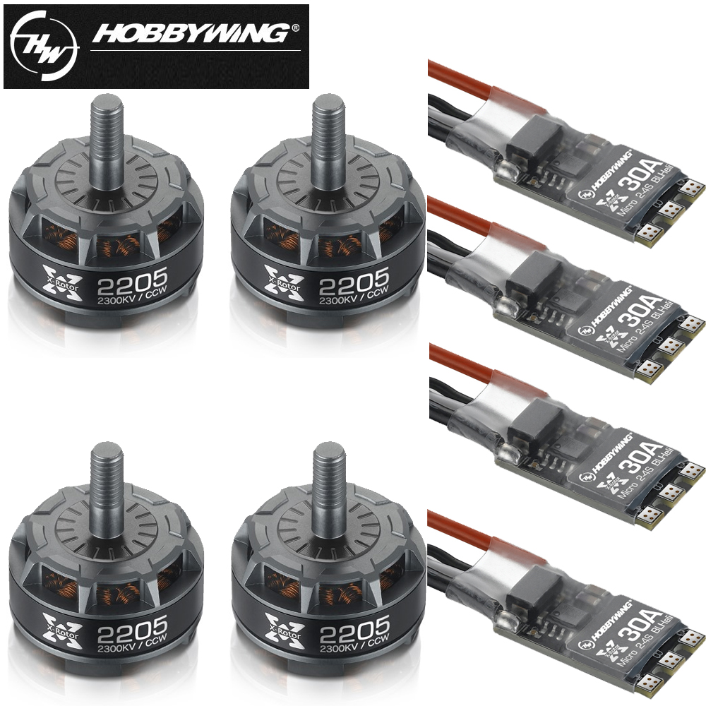 Original Hobbywing XRotor 2205 2300KV CW CCW Brushless Motor+XRotor Micro 20A/30A BLHeli Mini ESC For FPV Racing Quadcopter