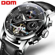 DOM Men Watches Automatic Mechanical Men Tourbillon Sport Clock Casual Business Leather Wristwatch Top Luxury Brand M 75BL 1MH