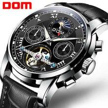 DOM montre bracelet automatique mécanique en cuir pour hommes, Tourbillon, horloge de Sport, modèle décontracté, marque de luxe, pour Business, M 75BL 1MH
