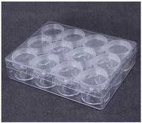 Fashion Transparent Round Bottle Beads Store Content Box Multi Function Plastic Case 12pcs Bottles Storage Jewelry