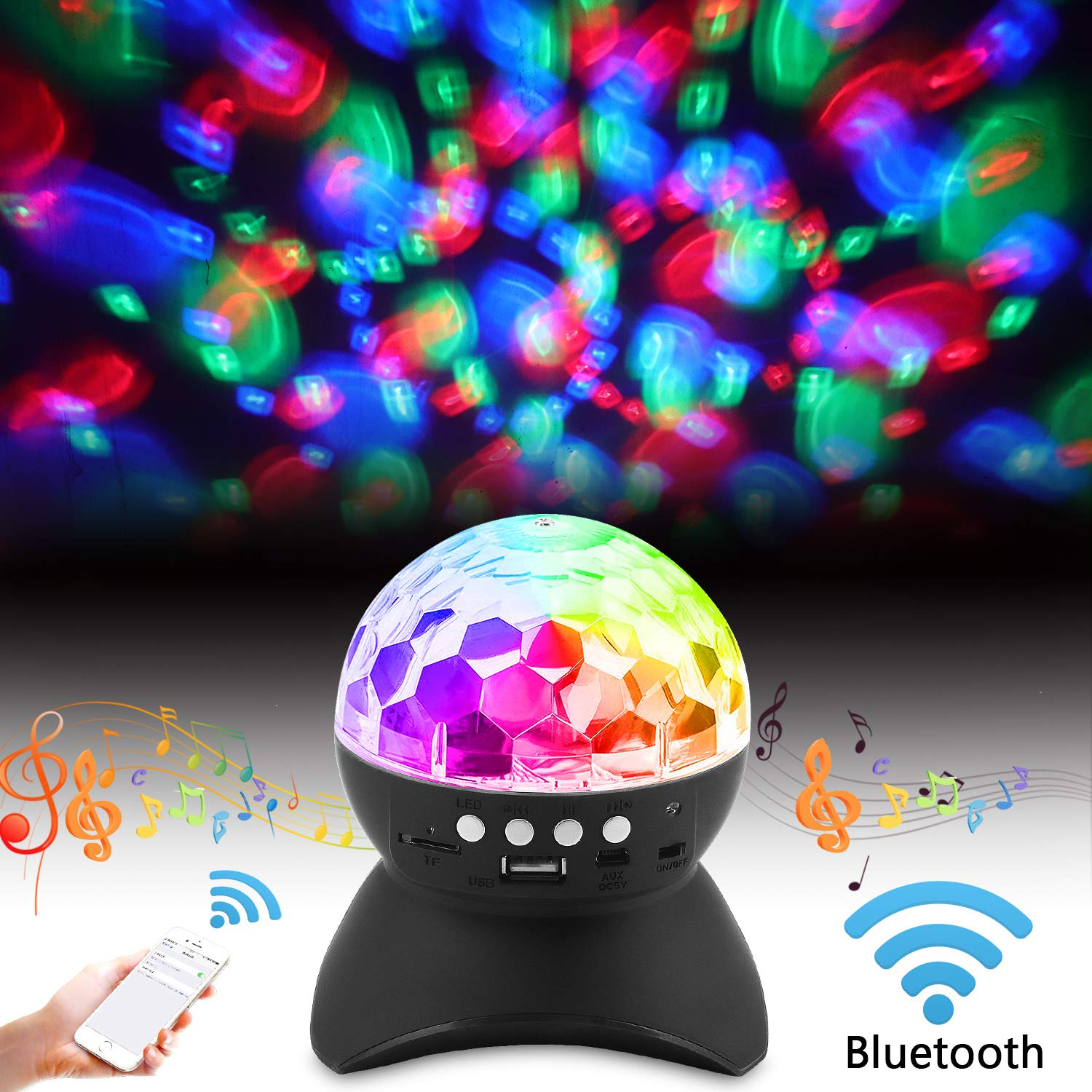 Star Project Master Stage Lighting Wireless Bluetooth Light Speaker LED Rotating Crystal Magic Ball DJ Stereo Speaker Homeparty