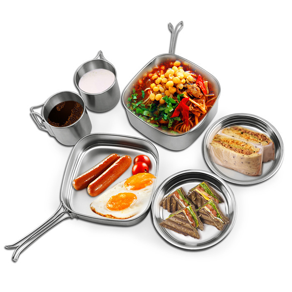 Image 4 - 6 PCS Outdoor Pot Set Camping Soup Coffee Water Cups Stainless Steel Cooking Pans Plates Set for 1 2 People Outdoor Tableware-in Outdoor Tablewares from Sports & Entertainment