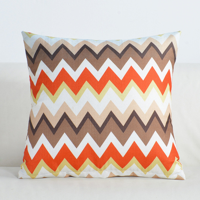 Colored Stripes Decorative Cushion Cover – Cotton Linen, 45x45cm