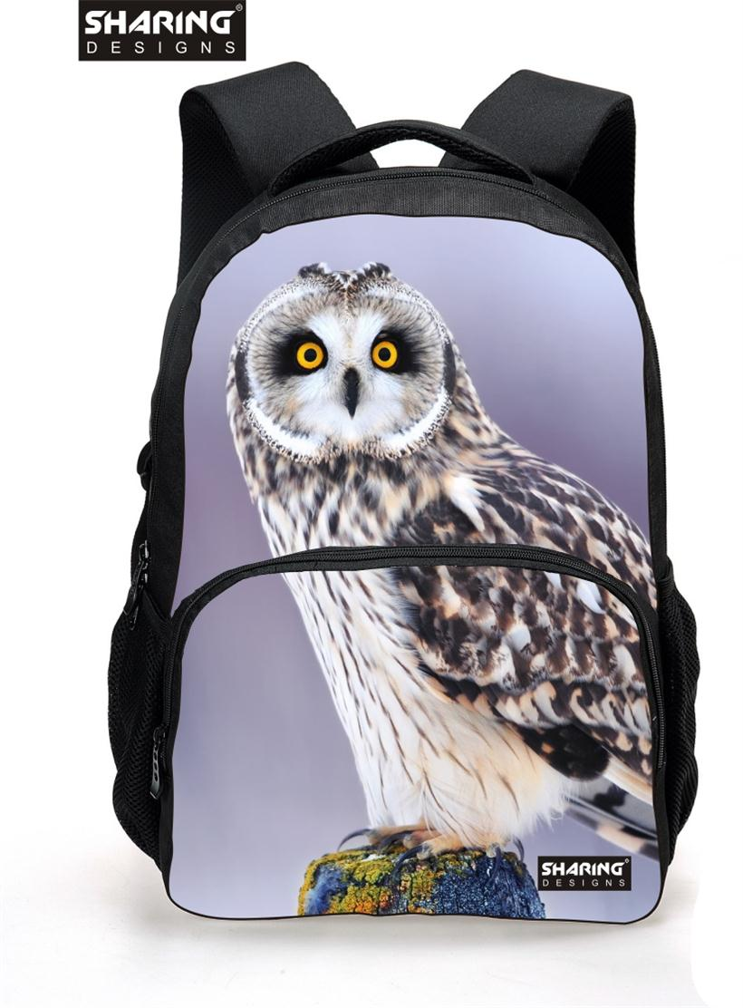 3D Printing Animals Women school bag Owl Head Laptop School Bagpack for Teenager Girls Lady Travel