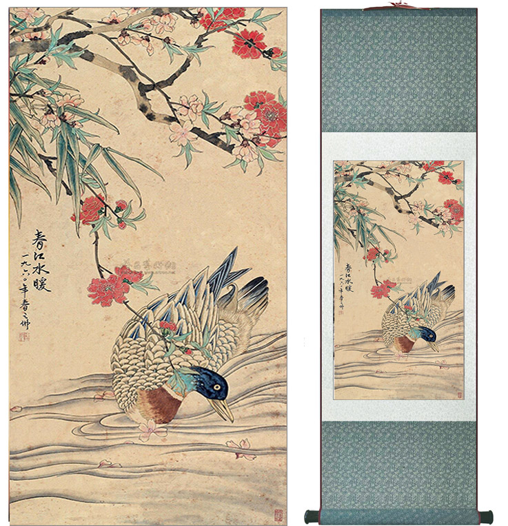 Duck in the river Painting Home Office Decoration Chinese scroll painting birds painting Spring picturesPrinted painting