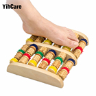 YihCare 6 Row Stress Relief Wooden Dual Foot Massager Colorful Roller Plantar Fasciitis Reflexology Acupressure Foot Massage Mat