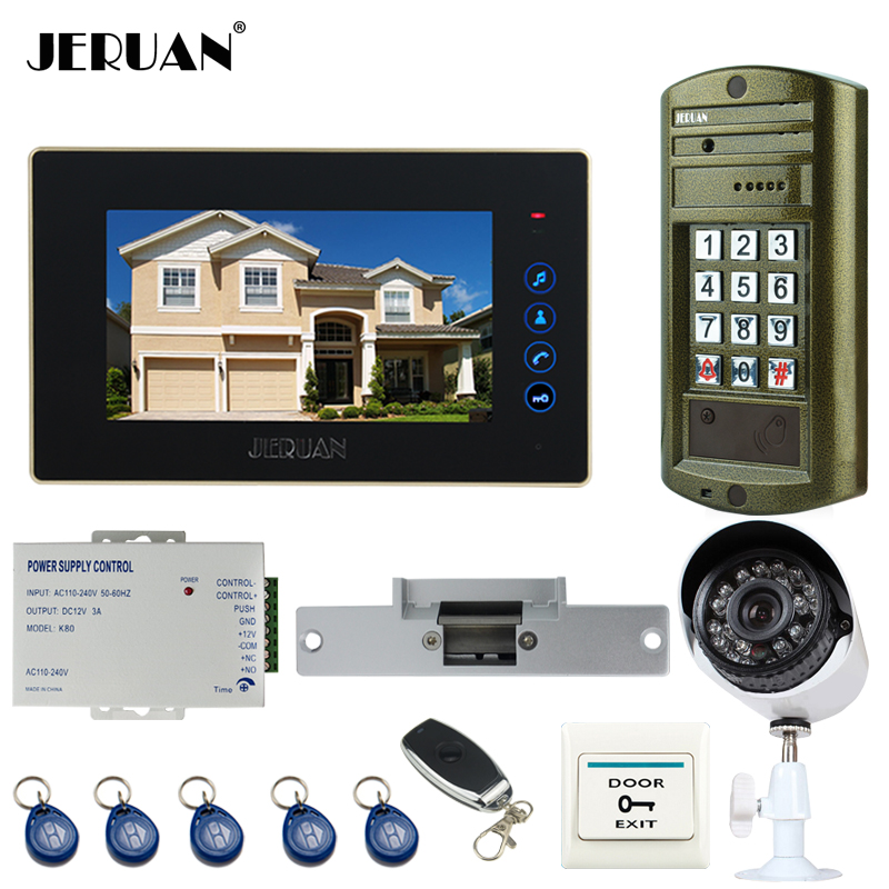 JERUAN New Metal Waterproof password keypad HD Mini Camera 7 inch touch key Video Intercom Door Phone System kit +Analog Camera jeruan 8 inch tft video door phone record intercom system new rfid waterproof touch key password keypad camera 8g sd card e lock