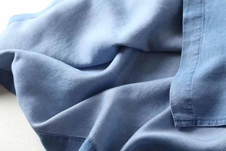 Embroidery Soft Jeans Dress Women Short Sleeves Casual Oblique Buttons summer Tencel denim dresses cotton light blue o neck